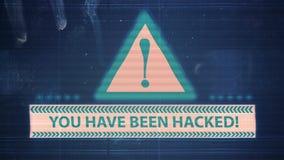 Interferencia del elemento del pirata informático y del ruido del pixel con la inscripción le han cortado ilustración del vector