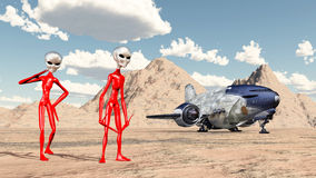 Intergalactic stopover. Computer generated 3D illustration with aliens and spaceship Royalty Free Stock Photography