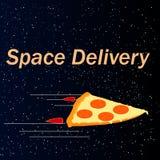 Intergalactische levering van pizza Royalty-vrije Stock Afbeelding