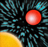 Intergalactische Reis - Zon & Planeet Stock Foto