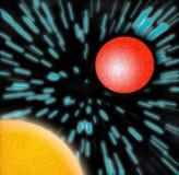 Intergalaktische Reise - Sun u. Planet Stockfoto