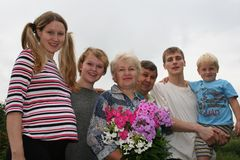intergenerational familj Royaltyfri Fotografi