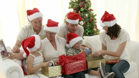 Intergenerational Family at Christmas stock video
