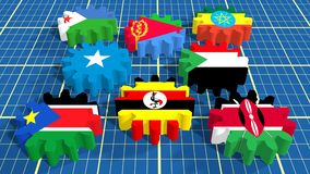 Intergovernmental Authority Development members national flags on gears Stock Photo