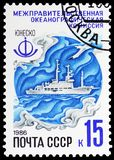 Intergovernmental Oceanographic commission : oceanographic research project, UNESCO Programmes in USSR serie, circa 1986. MOSCOW, RUSSIA - MAY 25, 2019: Postage royalty free stock image