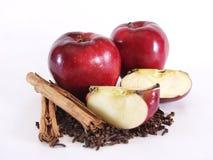 Interi Apple, sezioni e spezie, profilo Fotografie Stock