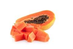 Interi frutti della papaia su fondo bianco Immagini Stock Libere da Diritti