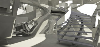 Interi futurista da arquitetura Imagens de Stock Royalty Free