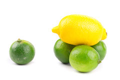 Interi limetta e limone freschi Fotografie Stock