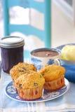 Interi muffin ai mirtilli del grano Immagine Stock Libera da Diritti