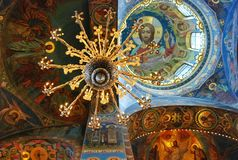 Ceiling of Church of the Savior on Spilled Blood, St Petersburg. The interior of the cathedral Saviour on the blood, Saint Petersburg Stock Photos