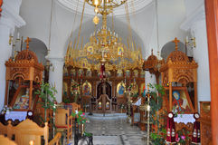 Interieur of greek orthodox church Royalty Free Stock Photos