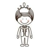 Interim del ragazzo della siluetta con la corona illustrazione di stock