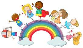 Interim felice dei bambini sull'arcobaleno illustrazione vettoriale