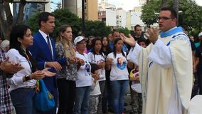 Interim President Juan Guaido attend mass celebration in Caracas stock footage