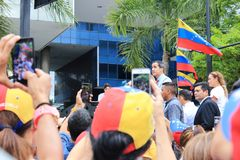 Interim president Juan Guaido staged protests in Caracas as the capital struggled without power. Caracas/Venezuela, March 2019: Interim president Juan Guaido stock photography