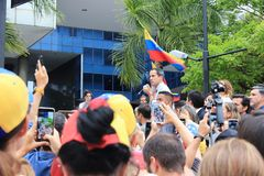 Interim president Juan Guaido staged protests in Caracas as the capital struggled without power. Caracas/Venezuela, March 2019: Interim president Juan Guaido royalty free stock images