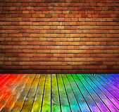 Interio de la textura del suelo de la pared de ladrillo y de madera de la vendimia Fotos de archivo libres de regalías