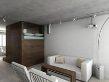 interioir居住的现代空间 免版税库存图片