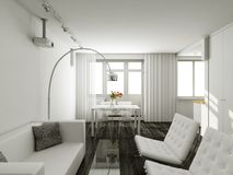 interioir σύγχρονο δωμάτιο διαβί&omeg Στοκ Φωτογραφίες