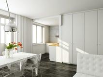 interioir σύγχρονο δωμάτιο διαβί&omeg Στοκ Φωτογραφία