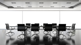 Interiopr of boardrooml with black armchairs 3D rendering. Interiopr of   boardrooml with black armchairs 3D rendering Stock Photography