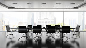 Interiopr of boardrooml with black armchairs 3D rendering. Interiopr of  boardrooml with black armchairs 3D rendering Royalty Free Stock Image