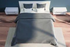 Interior à moda do quarto com fundamento branco da cama enorme em elegante 3d rendem Vista superior ilustração stock