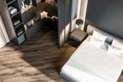 Interior à moda do quarto com fundamento branco da cama enorme em elegante 3d rendem wardrobe ilustração royalty free