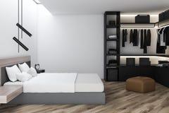 Interior à moda do quarto com fundamento branco da cama enorme em elegante 3d rendem wardrobe ilustração do vetor