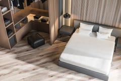 Interior à moda do quarto com fundamento branco da cama enorme em elegante 3d rendem wardrobe Vista superior ilustração stock