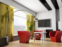 Interior 043. Modern interior of a room, exclusive design Royalty Free Stock Photography