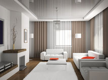 Interior. Modern interior. 3D rednder Royalty Free Stock Images