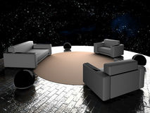 Interior. With a sofa and armchairs against stars Stock Image