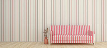 Interior. Zebra striped couch in the room Vector Illustration