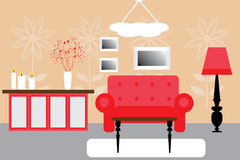 Interior. Of a room in red colors Stock Images
