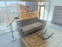 Interior. Abstract private apartment 3d rendering. Photo behind a window my own Royalty Free Stock Image