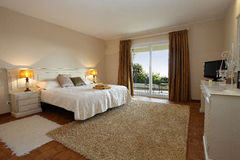 Interior. A luxurious and modern decorated bedroom Royalty Free Stock Photography