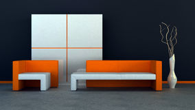 Interior. With a sofa, an armchair and a closet Stock Photo