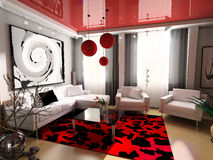 Interior. Modern, interior, house, dwelling, design, technology, 3d Royalty Free Stock Images