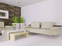 Interior. Modern interior room with white wall Stock Photos