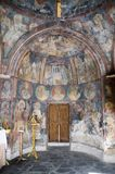 Interior of a 14th century byzantine church. Frescos of Saint Nicolas byzantine church in Foundoukli, Rhodes, Greece stock photography