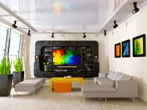 Interior. Modern interior with big TV on the wall Royalty Free Stock Images