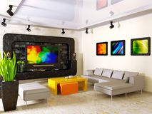 Interior. Modern interior with big TV on the wall Stock Images