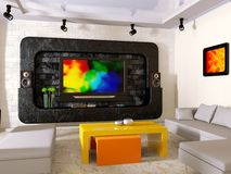 Interior. Modern interior with big TV on the wall Royalty Free Stock Photos