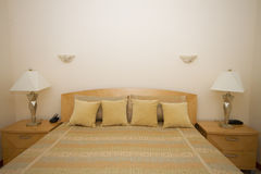 Interior. A modern and decorated bedroom Royalty Free Stock Photography