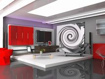 Interior. Modern, interior, house, dwelling, design, technology, 3d, Illustration Royalty Free Stock Image