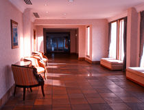 Interior. Hotel Hallway wuith the sun filtering through the windows Stock Image