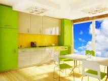 Interior. Modern interior kichen with green furniture stock illustration