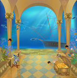 Interior. Painting nucleon hall with access to the underwater world Royalty Free Stock Images